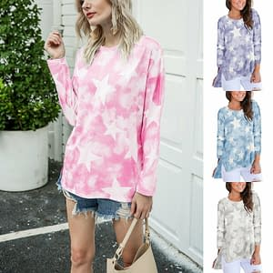 Women Blouse Round Neck Loose Pullover