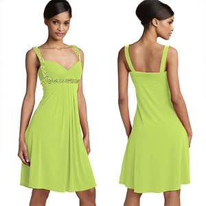 Knee Length Party Club Prom Beaded Dress Leaf Green