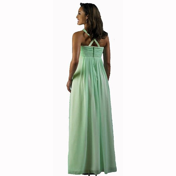 Long Flowing Ruffled Front Formal Bridesmaid Evening Dress Maxi Gown Mint Green 400736039112 2