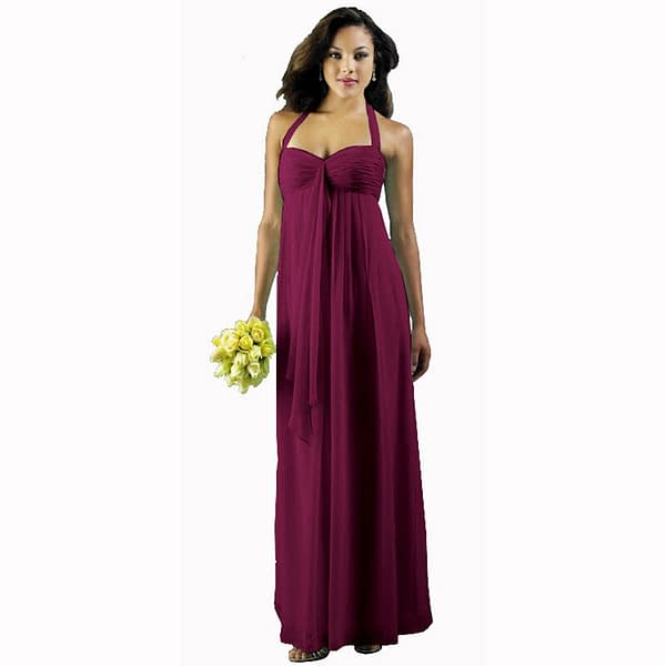 Long Flowing Ruffled Front Formal Bridesmaid Evening Dress Maxi Gown Violet 192114701317