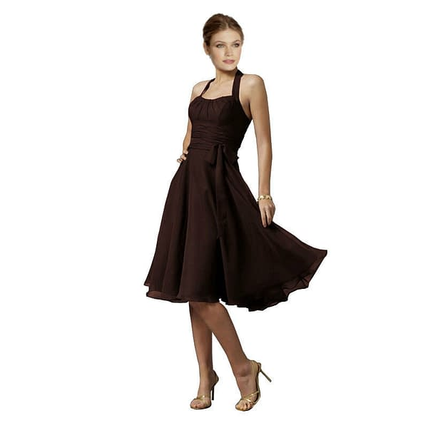 Halterneck Knee A line Cocktail Party Bridesmaid Evening Dress co0933 Chocolate 172527661657