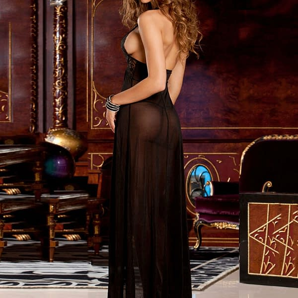 Elegant Black Long Sheer Lace Evening Night Gown Lingerie 6171 Size S to L 191290759047 3