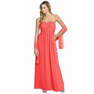 Beaded Strapless Formal Long Evening Gown with Shawl Coral