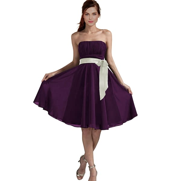 Sexy A Line Strapless Chiffon Formal Bridesmaid Cocktail Party Dress Deep Purple 191226604231