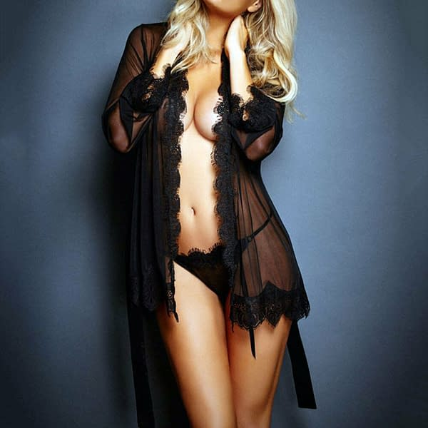 Variation of Sheer Lace Trim Robe with Thong Intimate Chemise Lingerie 2530 Size S M L 401141034969 afb1