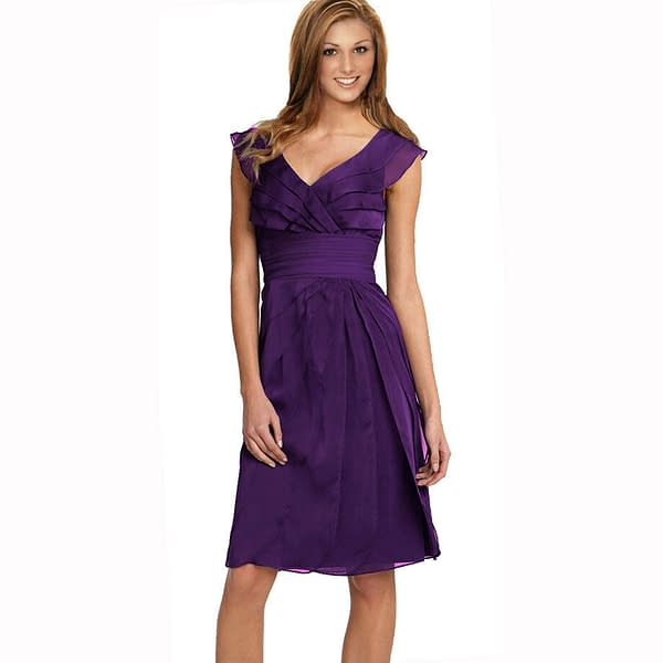 Tiered Fashion Formal Knee Length Cocktail Party Evening Dress Deep Purple 171375432143