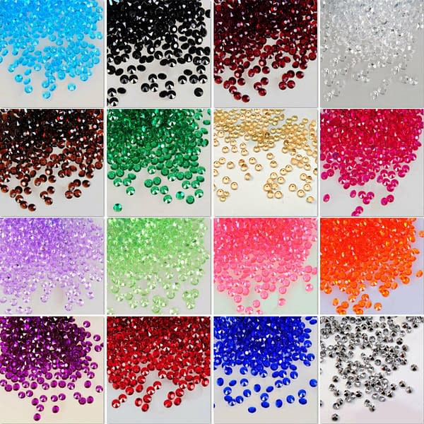1000x 6mm Acrylic Crystal Diamond Confetti Table Scatters Clear Vase Fillers 191219527245