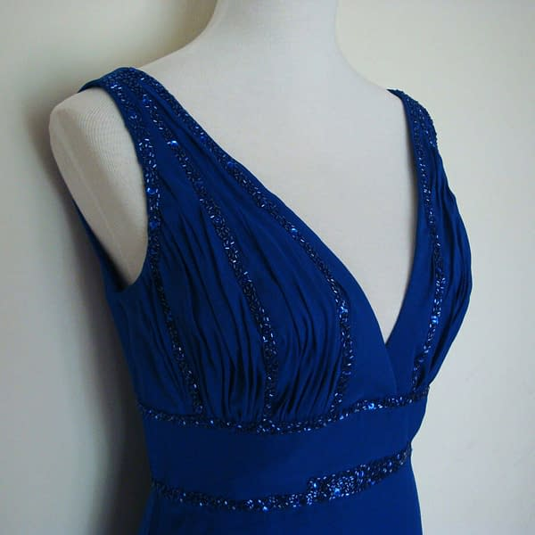 V Neck Sleeveless Beaded Formal Cocktail Party Dress Evening Gown Cobalt Blue 171376217167 2