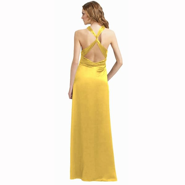 Halter Neck Silky Satin Formal Evening Bridesmaid Dress Party Ball Gown Yellow 171374316793 2
