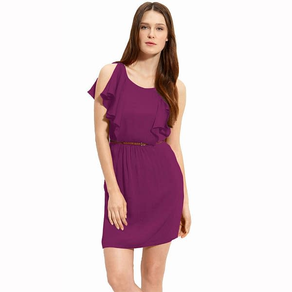 Ruffle Scoope Neck Chiffon Blouson Shift Cocktail Dress Club Party Wear Orchid 172530657315