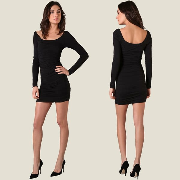 Long Sleeves Scoop neck Jersey Day Night Party Dress co9730 Black 191335471481