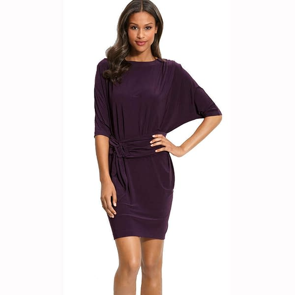 Batwing Sleeves Crewneck Jersey Party Day Night Cocktail Evening Dress Eggplant 171376215867