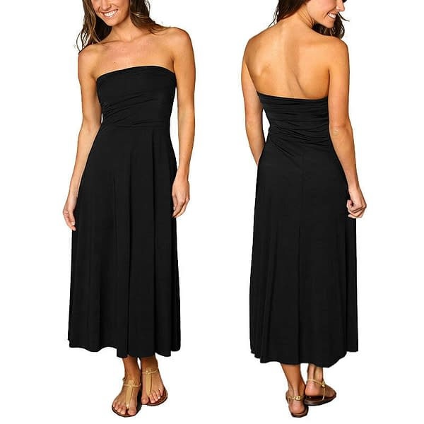 A line Chic strapless Jersey Cocktail Party Day Dress Convertible Skirt Black 191231167737