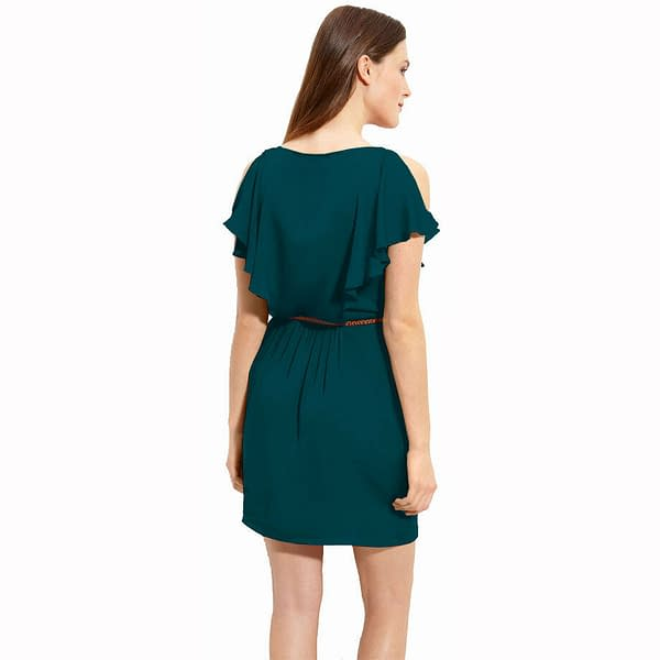 Ruffle Scoope Neck Chiffon Blouson Shift Cocktail Dress Club Party Wear Teal 191233588591 2