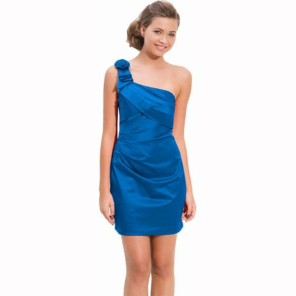 Draped Satin One Shoulder Formal Cocktail Evening Dress Prom Party Wear Blue 401276047935