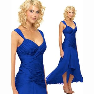 Stylish Formal Cocktail Floating High Low Dress Blue