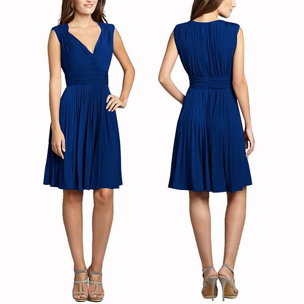 Stretch Jersey Pleated V Neck Sleeveless Cocktail Party Flare Day Dress Blue 400734677721