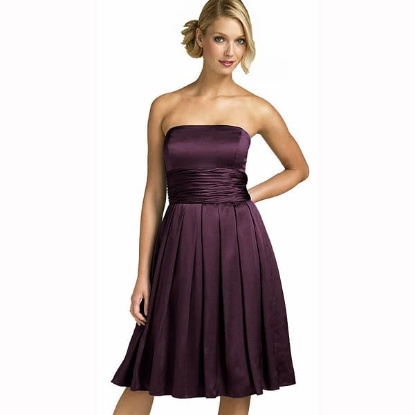 A Line Strapless Knee Length Satin Cocktail Party Bridesmaid Prom Dress Plum 171375489549
