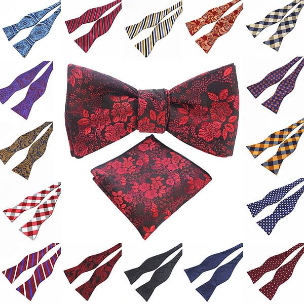 Men's Floral Paisley Stripe Self Tie Bow with Hanky