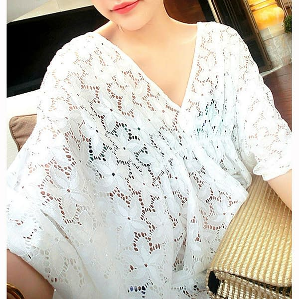 White Summer Beach Floral Tunic Batwing Top Party Cover Up Dress 0888 Size ML 401053416069 2