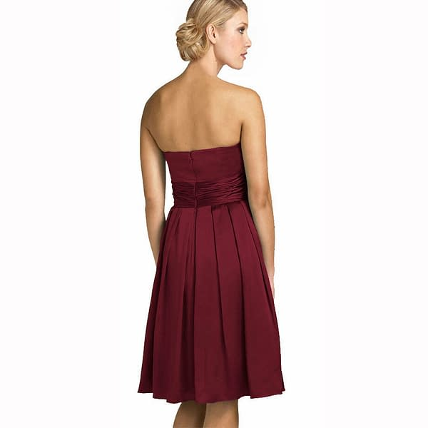 A Line Strapless Knee Length Satin Cocktail Party Bridesmaid Prom Dress Burgundy 171376215730 2