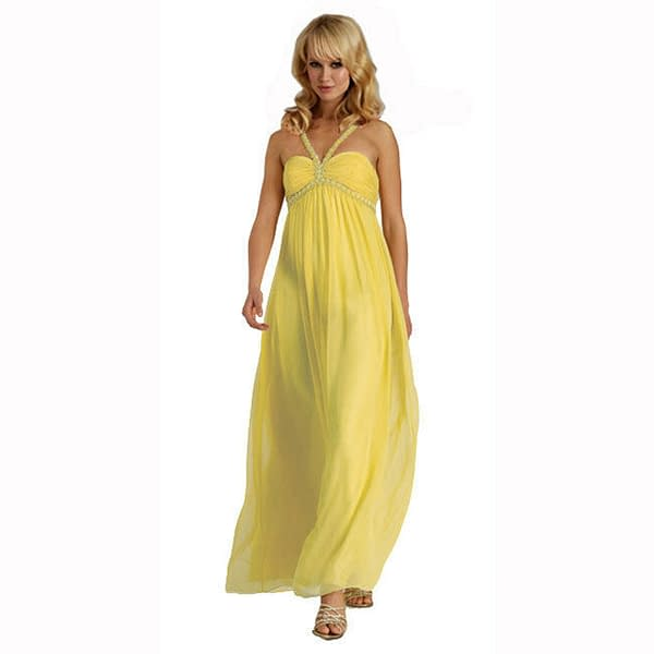 Sweetheart Long Flowing Maxi Formal Evening Party Gown Bridesmaid Dress Yellow 400733756574