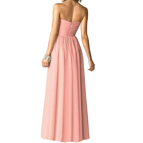 Strapless Full Length Chiffon Bridesmaids Dress Formal Evening Gown Coral Red 191230277435 2