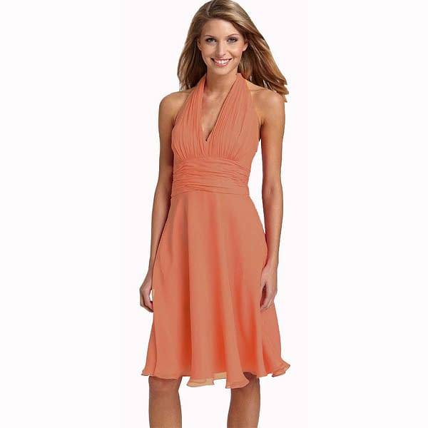 New Halter Neck Chiffon Cocktail Party Dress Dusty Pink