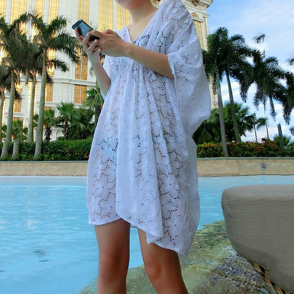 White Summer Beach Floral Tunic Batwing Top Party Cover Up Dress 0888 Size ML 401053416069 3