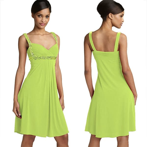 Sexy Beaded Knee Length Formal Cocktail Party Club Prom Dress Leaf Green 191234588838
