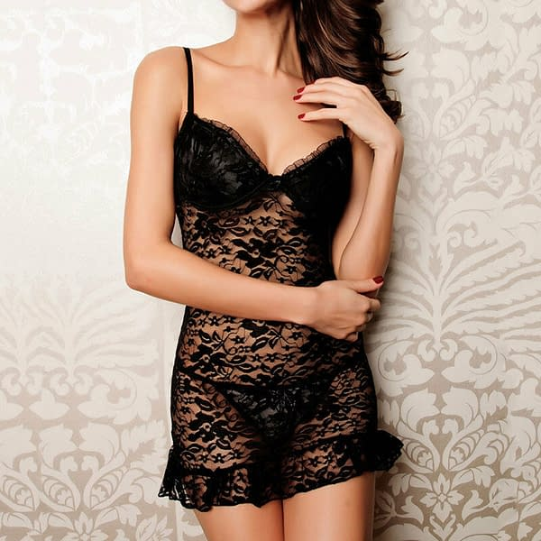 Variation of Elegant and Sexy Sheer Lace Badydoll Chemise lingerie Mini Night Dress 2210 Size 401268181850 1c7a