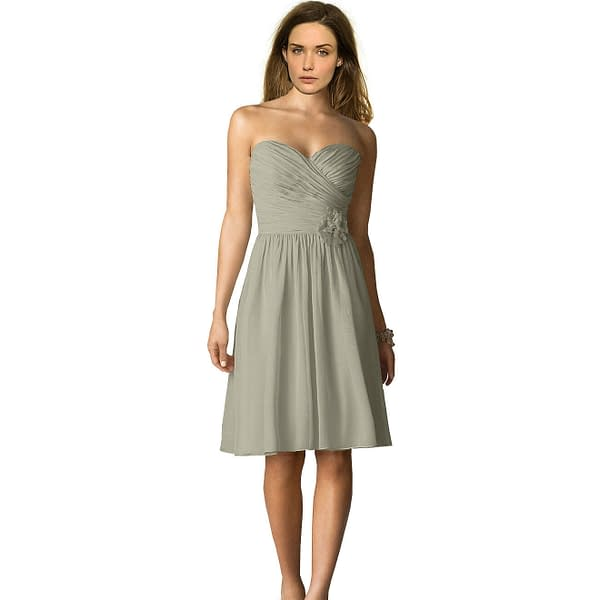 Strapless Short Chiffon Bridesmaid Formal Cocktail Evening Party Dress Grey 191229962196