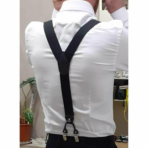 Mens 35mm Wide Suspenders 6 Clips Adjustable Elastic Leather Braces Trousers 174128189654 3
