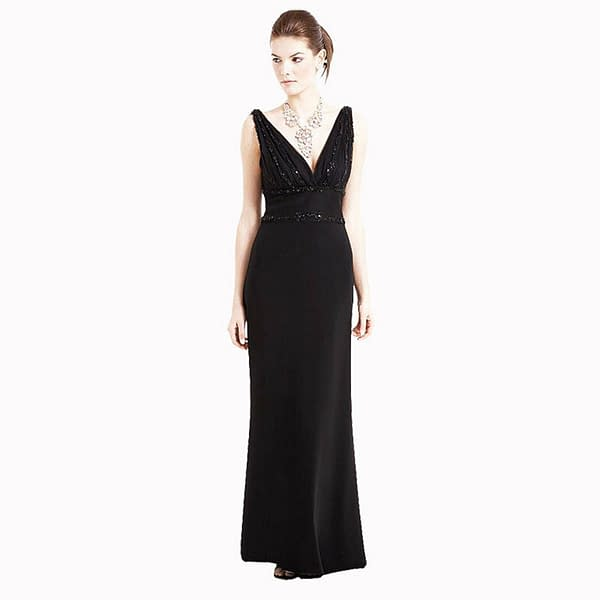 V Neck Sleeveless Beaded Formal Cocktail Party Dress Evening Gown Black 191226878104