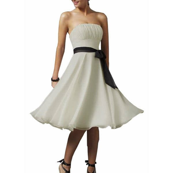 Sexy A Line Strapless Chiffon Formal Bridesmaid Cocktail Party Dress Chocolate 400733352063 2