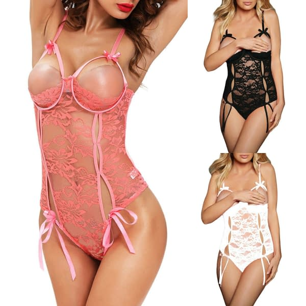 Sexy Underwire Open Cup Lace Teddy Babydoll Lingerie 2014 Size S M L 191997464012