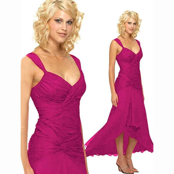 Stylish Formal Cocktail Floating High Low Dress Magenta