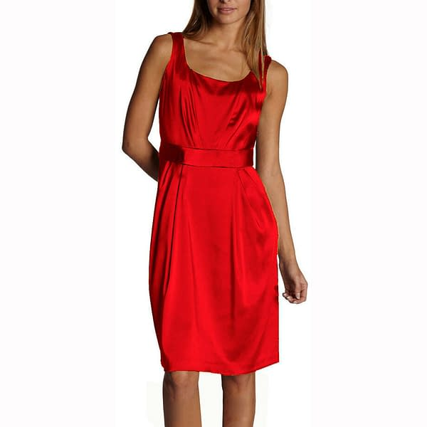 Sleeveless Scoop neck Satin Formal Cocktail Party Day Bridesmaid Dress Scarlet 400734223799
