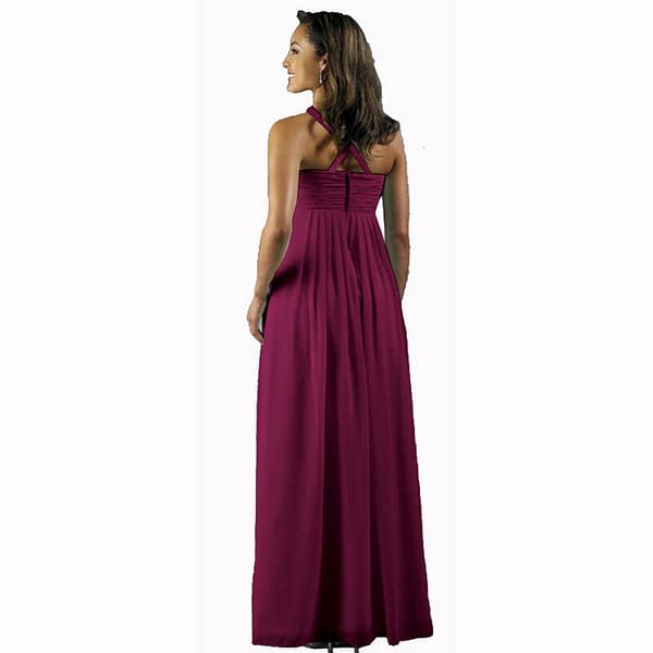 Long Flowing Ruffled Front Formal Bridesmaid Evening Dress Maxi Gown Violet 192114701317 2