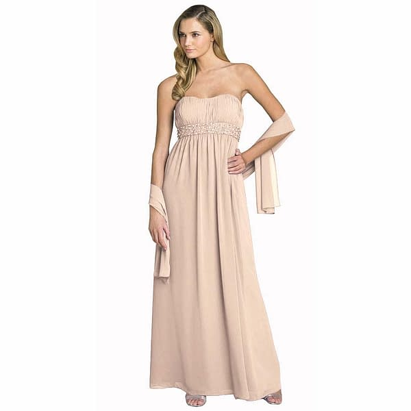 Beaded Strapless Formal Long Evening Gown with Shawl Champagne