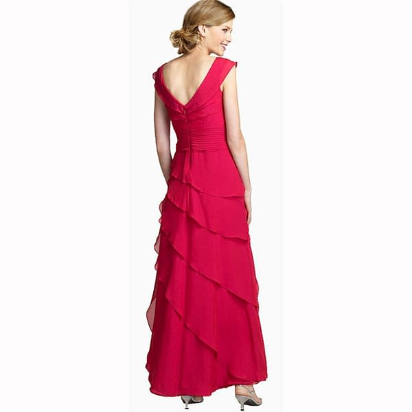 Elegant Fashion Full Length Tiered Formal Evening Party Dress Ball Gown Hot Pink 400736025117 2