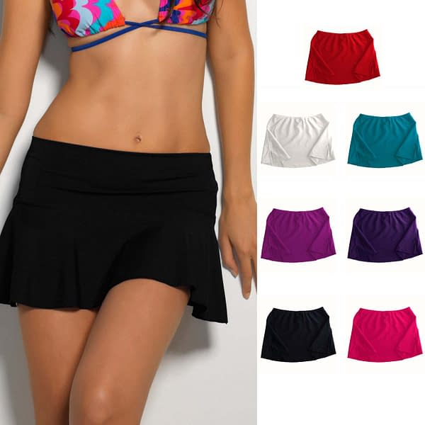 Short Style Beach Cover Up Solid Colour Skirt