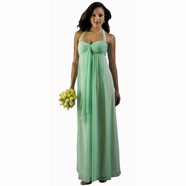 Long Flowing Ruffled Front Formal Bridesmaid Evening Dress Maxi Gown Mint Green 400736039112