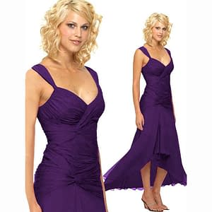 Stylish Formal Cocktail Floating High Low Dress Purple