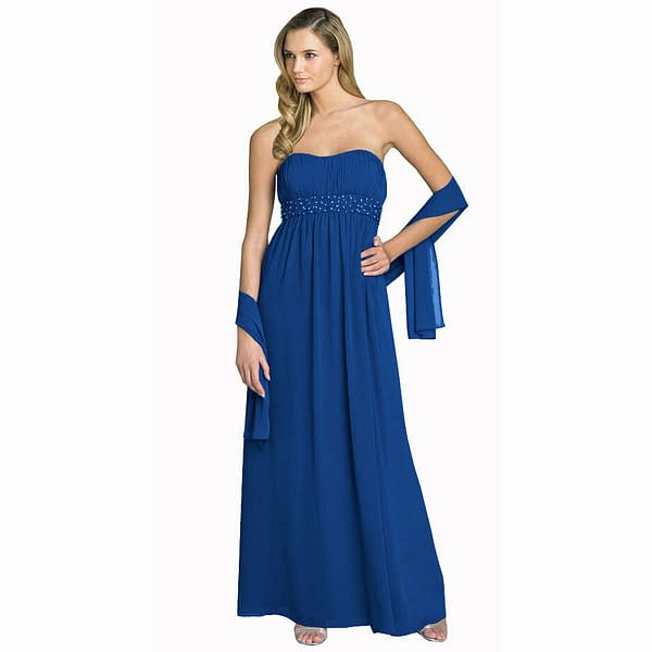Beaded Strapless Formal Long Evening Gown Bridesmaid Dress with Shawl Royal Blue 400736447899