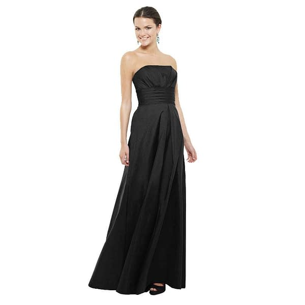 A-Line Strapless Pleated Taffeta Evening Gown Black