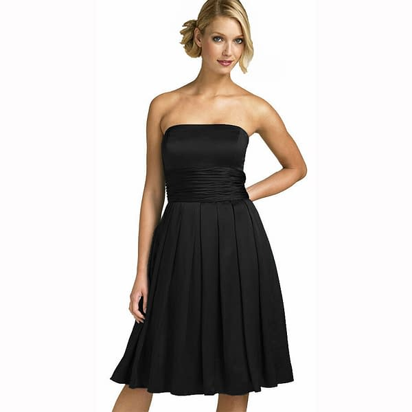 A Line Strapless Knee Length Satin Cocktail Party Bridesmaid Prom Dress Black 191234672513