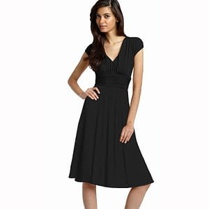 Ruched Cap Sleeves Chiffon Cocktail Dress Black