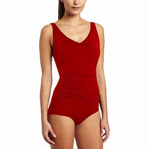Side Shirred Contour Swimsuit Red
