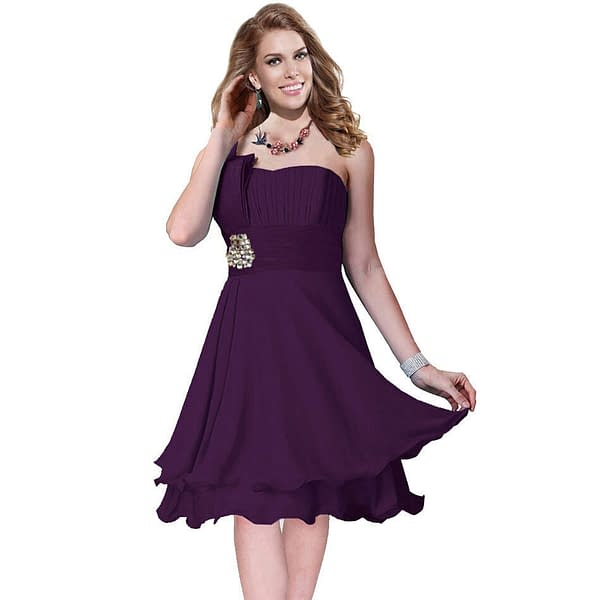 One Shoulder 2 Layer Chiffon Formal Cocktail Prom Party Dress Deep Purple 191233656628